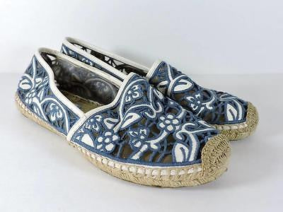TORY BURCH 'Lucia Lace Espadrile' Flats Sz 10 Navy Blue White Slip-on Shoes