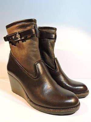 TORY BURCH Primrose Wedge Bootie Lamb Fur Brown Leather Ankle Shoes Women's 8
