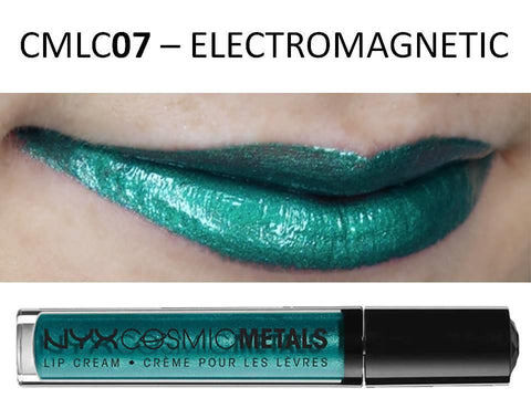 NYX Cosmic Metals Lip Cream 'ELECTROMAGNETIC' CMLC07 Aqua Silver Blue Gloss