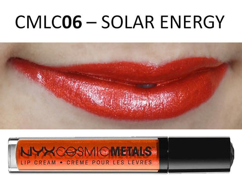 NYX Cosmic Metals Lip Cream 'SOLAR ENERGY' CMLC06 Orange Coral w/ Silver Gloss