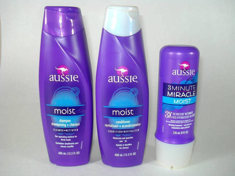 AUSSIE Moist Shampoo & Conditioner & '3-Minute Miracle' Hair Treatment (3-Pack)