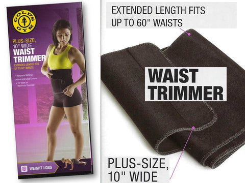 "Gold's Gym PLUS SIZE Waist Trimmer Belt Adjustable Exercise 60"" x 10"" Stretch"