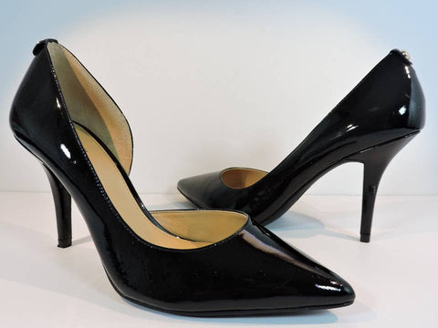 MICHAEL KORS MK Flex Pumps Size 8M Black Patent Leather Pointy Toe Shoes Heels