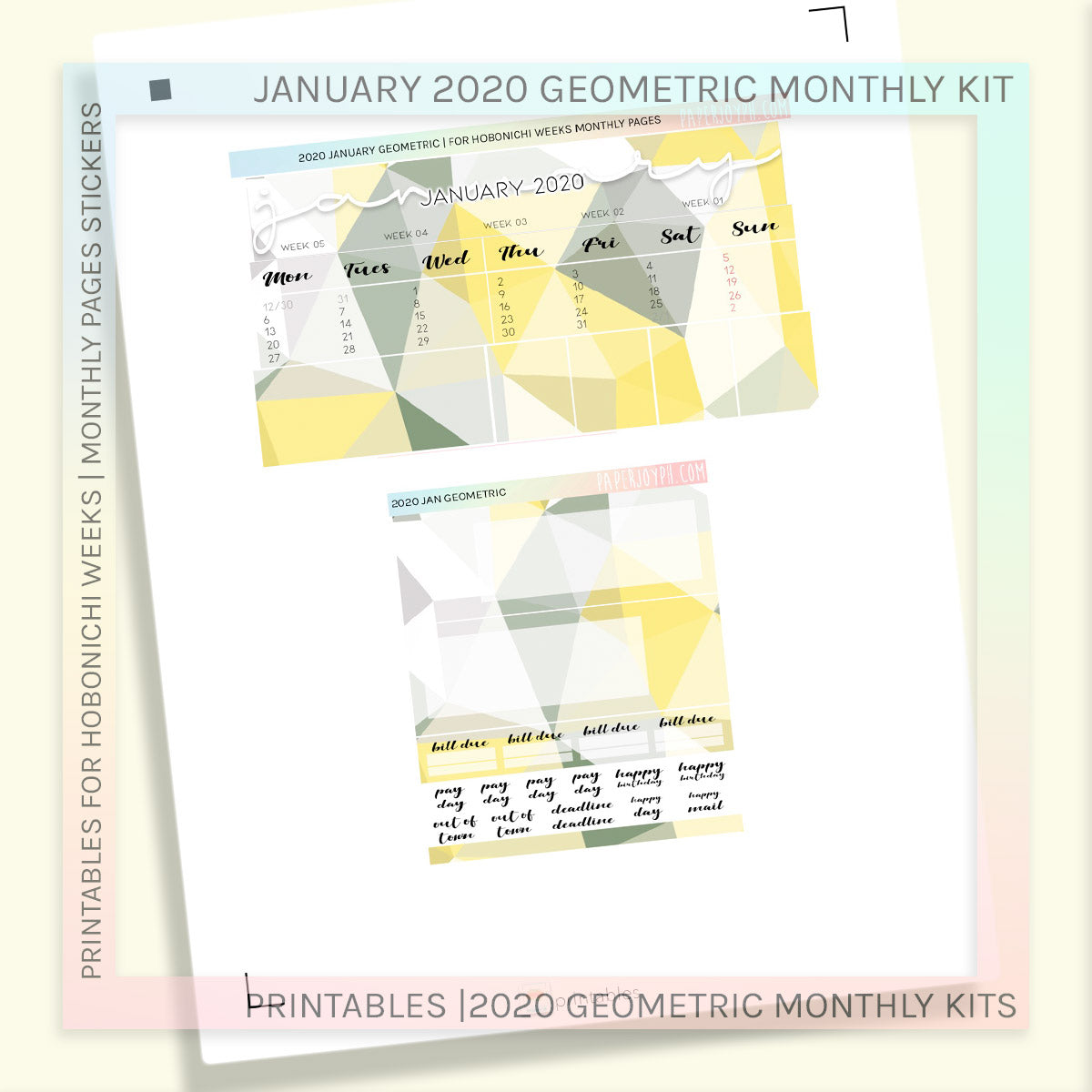 PRINTABLES | HOBONICHI WEEKS | 2020 MONTHLY PAGES | January Geometric 2020