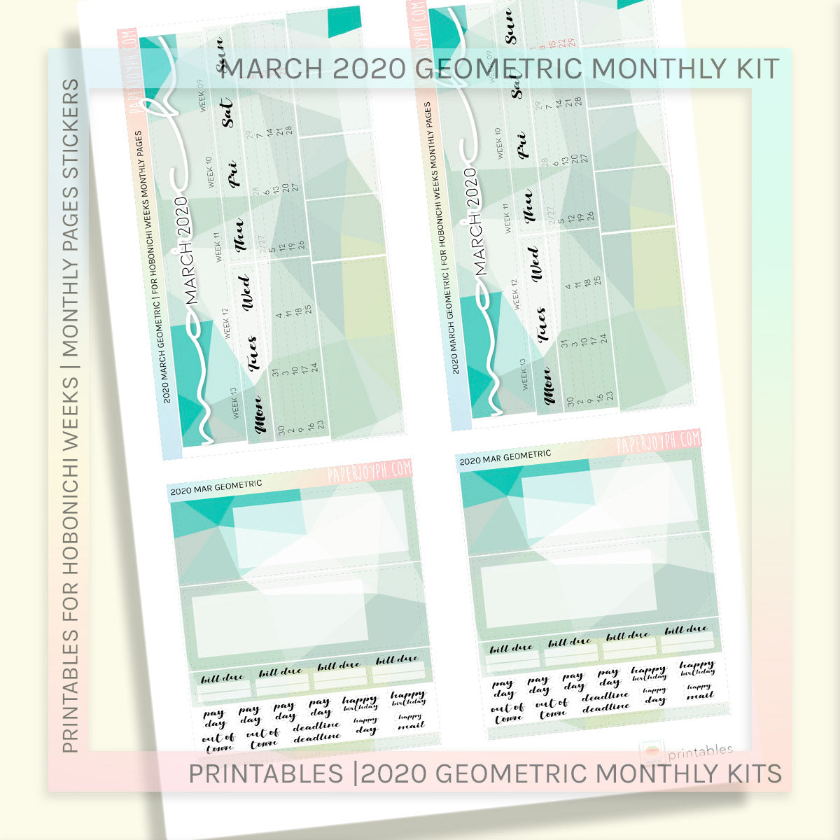 PRINTABLES | HOBONICHI WEEKS | 2020 MONTHLY PAGES | March Geometric 2020