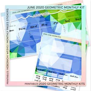 PRINTABLES | HOBONICHI WEEKS | 2020 MONTHLY PAGES | June Geometric 2020