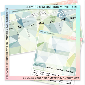 PRINTABLES | HOBONICHI WEEKS | 2020 MONTHLY PAGES | July Geometric 2020