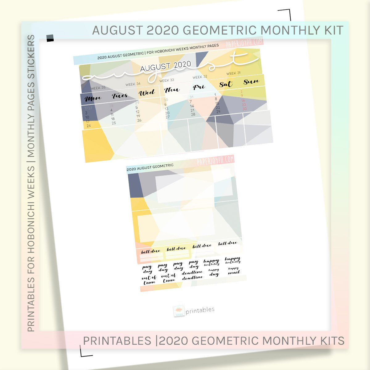 PRINTABLES | HOBONICHI WEEKS | 2020 MONTHLY PAGES | August Geometric 2020