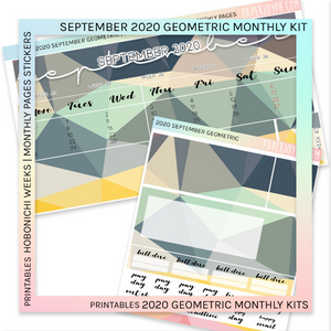 PRINTABLES | HOBONICHI WEEKS | 2020 MONTHLY PAGES | September Geometric 2020