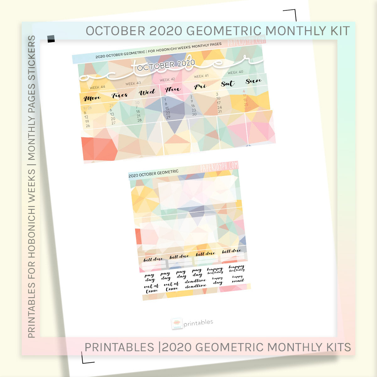 PRINTABLES | HOBONICHI WEEKS | 2020 MONTHLY PAGES | October Geometric 2020