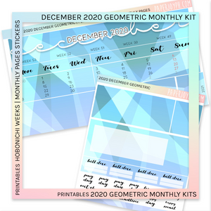 PRINTABLES | HOBONICHI WEEKS | 2020 MONTHLY PAGES | December Geometric 2020