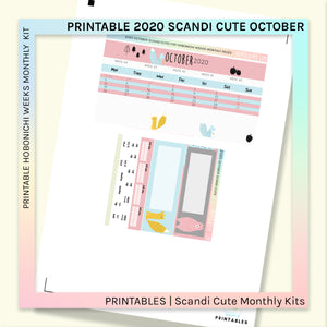 PRINTABLES | HOBONICHI WEEKS | 2020 MONTHLY PAGES | October 2020 Scandi Cute