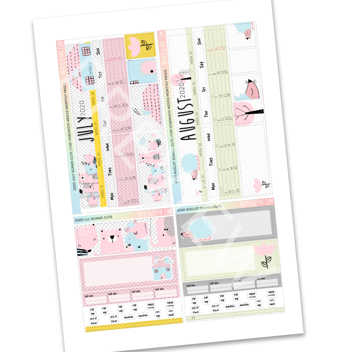 PRINTABLES | HOBONICHI WEEKS | 2020 MONTHLY PAGES |  MONTHLY PAGES 2020 MEGA Bundle