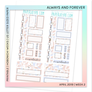 PRINTABLE | HOBONICHI WEEKS | Always and Forever U.S. LETTER size paper