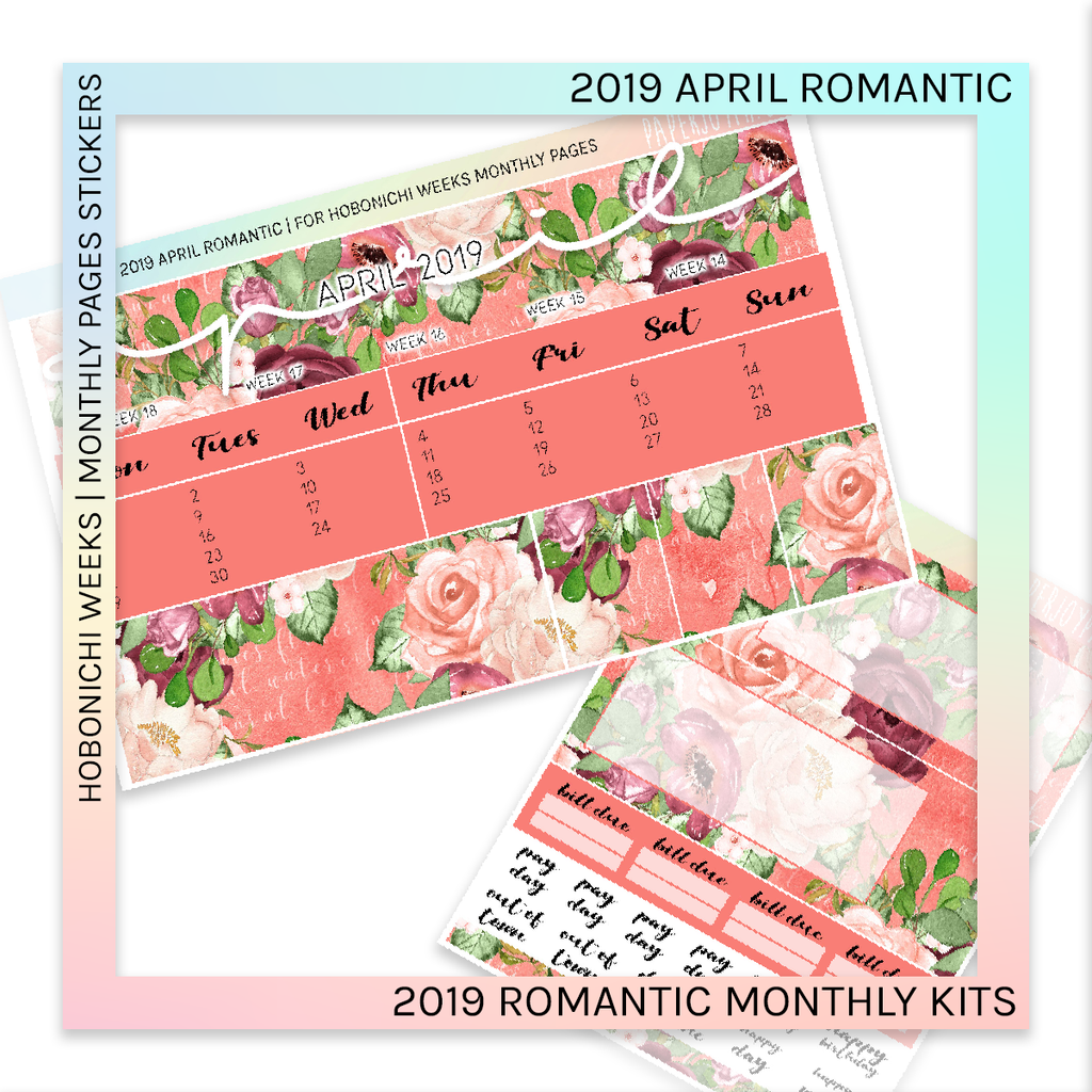 HOBONICHI WEEKS | 2019 MONTHLY PAGES | April Romantic 2019