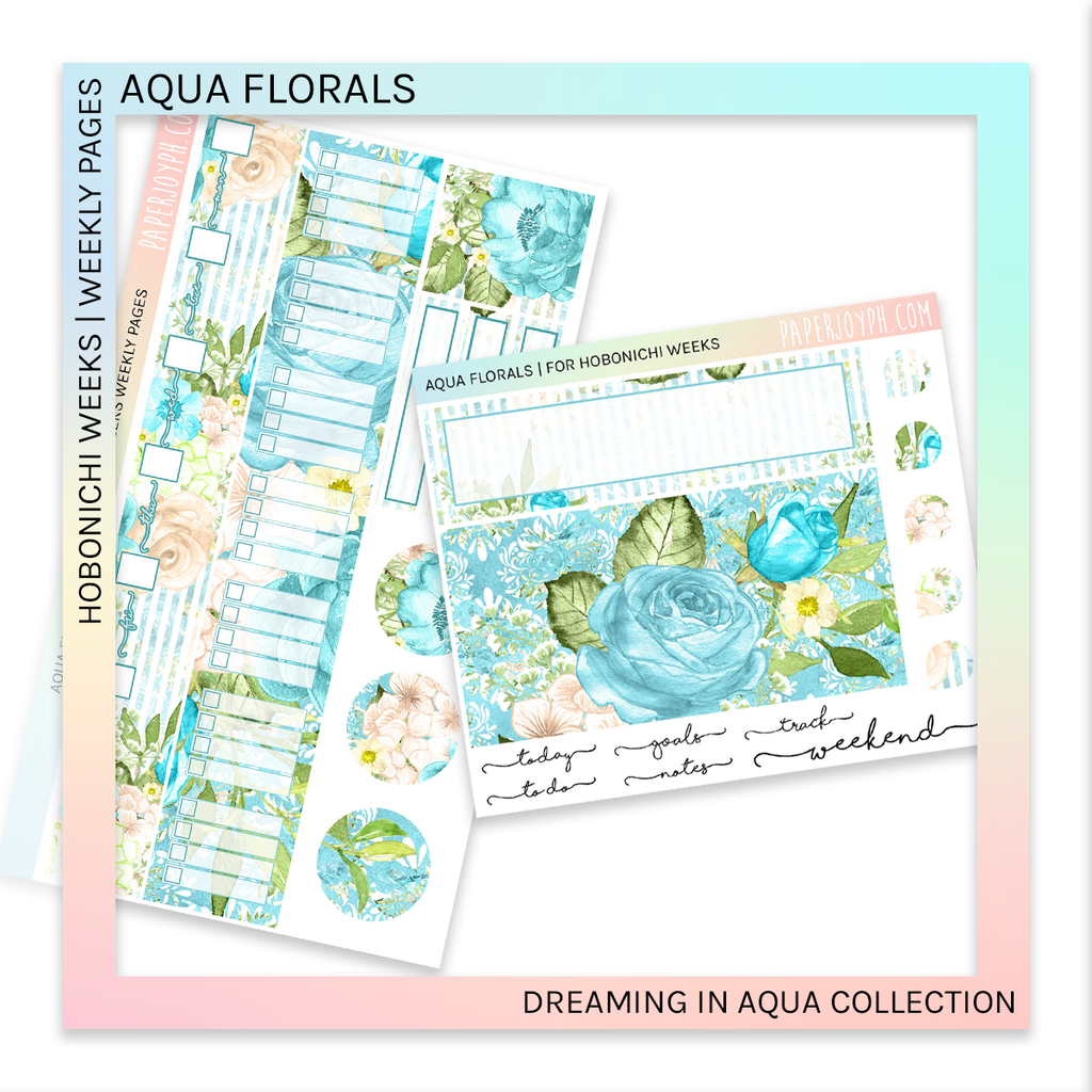 HOBONICHI WEEKS | WEEKLY PAGES | Aqua Florals