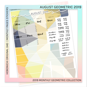 HOBONICHI ORIGINAL (A6) | MONTHLY PAGES | August Geometric 2019