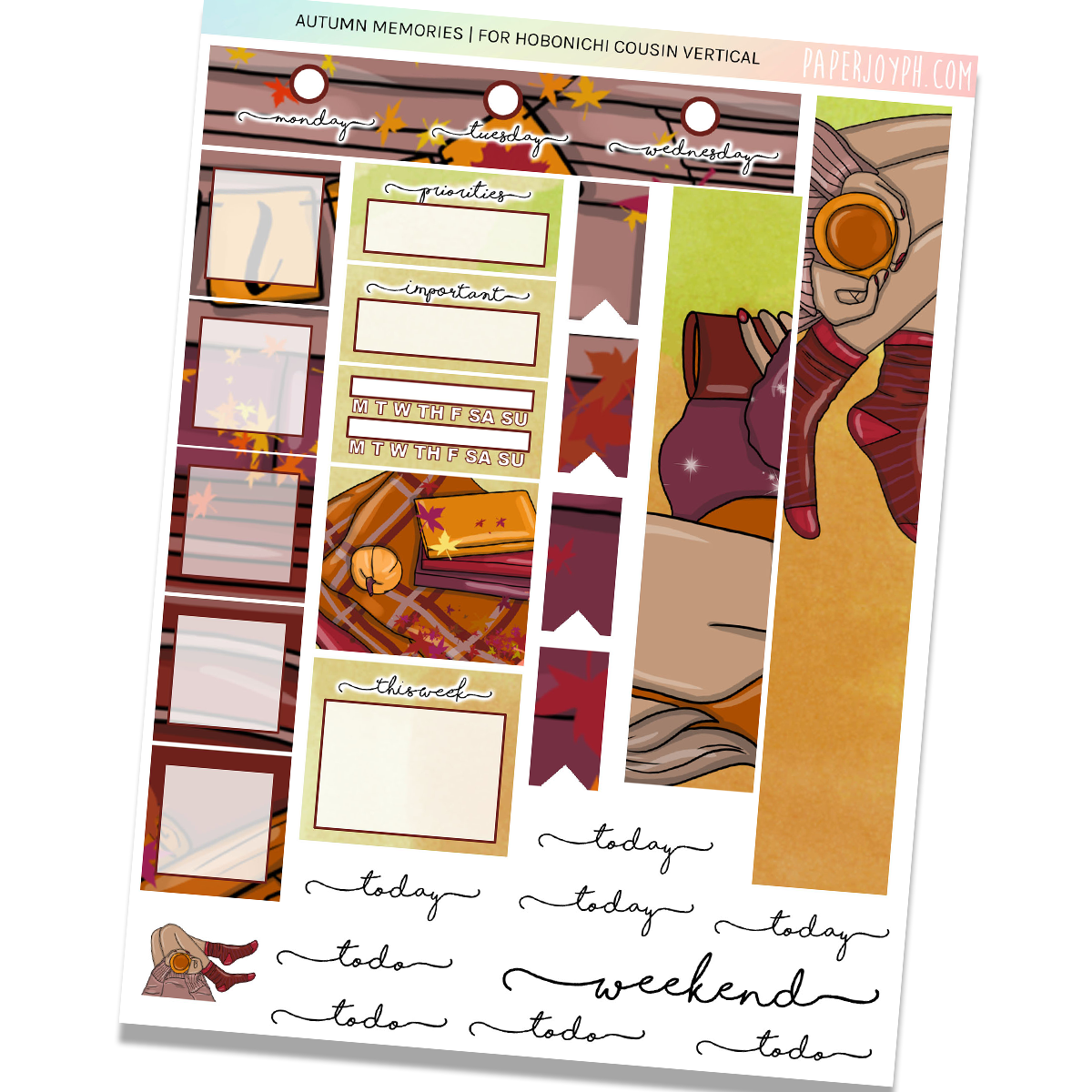 HOBONICHI COUSIN | VERTICAL STICKER KIT | AUTUMN MEMORIES