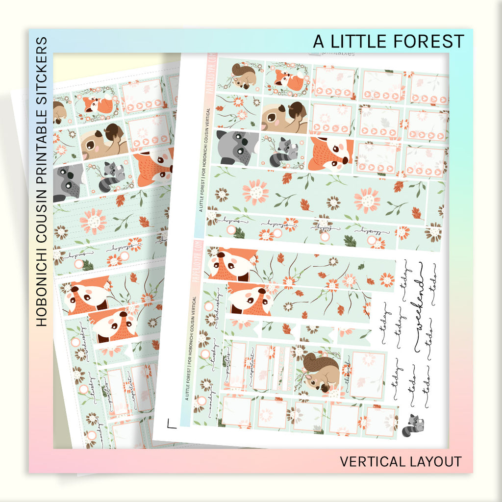 PRINTABLES | HOBONICHI COUSIN | VERTICAL STICKER KIT | A LITTLE FOREST
