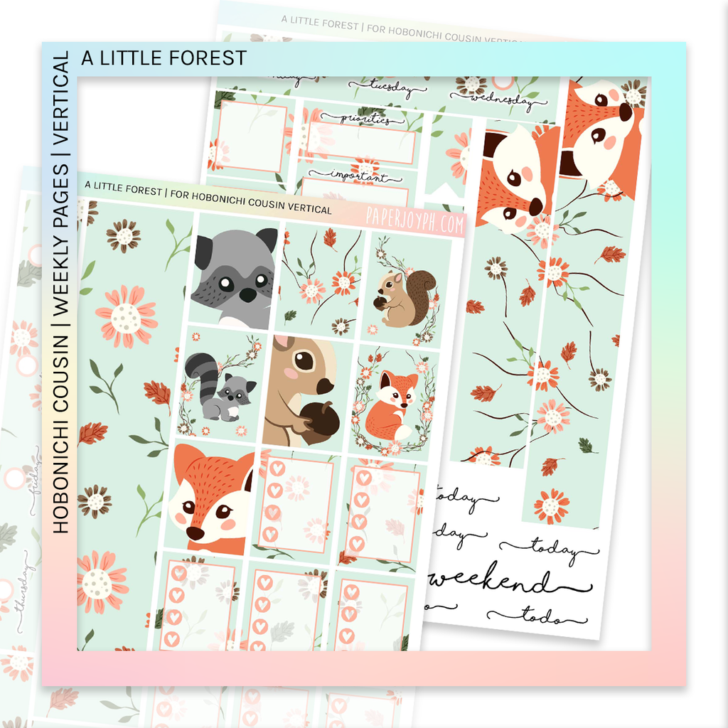 HOBONICHI COUSIN | VERTICAL STICKER KIT |  A LIL FOREST