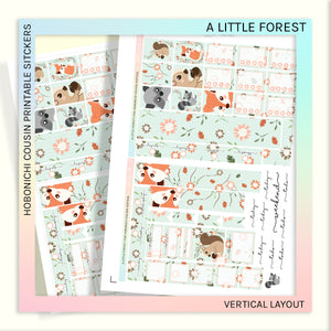 HOBONICHI COUSIN PRINTABLES | VERTICAL STICKER KIT | A LITTLE FOREST