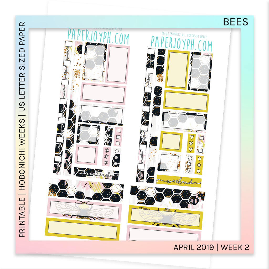 PRINTABLE | HOBONICHI WEEKS | Bees By U.S. LETTER size paper