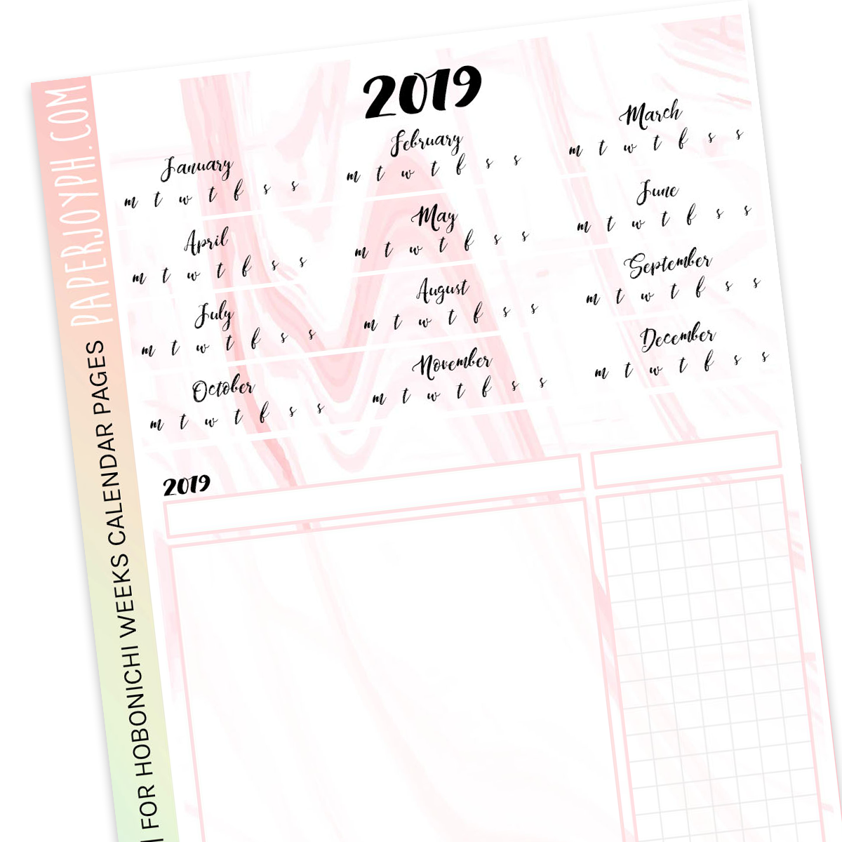 HOBONICHI WEEKS | CALENDAR PAGES | Blush Marble 2019