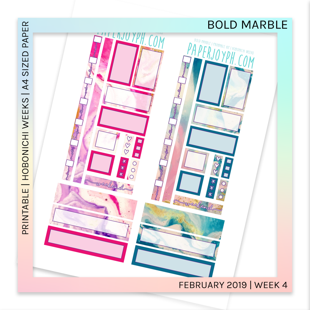 PRINTABLE | HOBONICHI WEEKS | Bold Marble A4 size paper