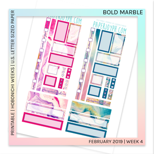 PRINTABLE | HOBONICHI WEEKS | Bold Marble U.S. LETTER size paper