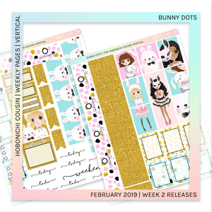 HOBONICHI COUSIN | VERTICAL STICKER KIT | Bunny Dots