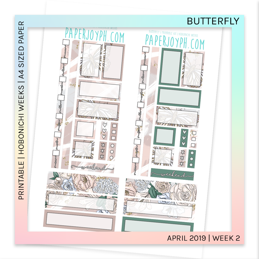 PRINTABLE | HOBONICHI WEEKS | Butterfly A4 size paper