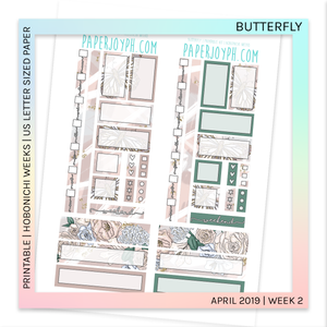PRINTABLE | HOBONICHI WEEKS | Butterfly U.S. LETTER size paper