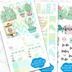 Personal Planner Horizontal Sticker Kit | CACTI LOVE