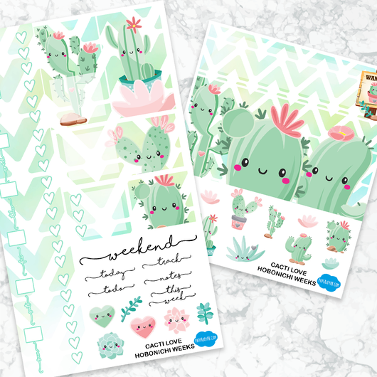 Hobonichi weeks sticker kit cacti love