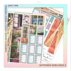 HOBONICHI COUSIN | VERTICAL STICKER KIT | Cafe Time