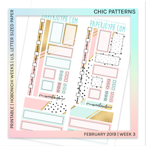 PRINTABLE | HOBONICHI WEEKS | Chic Patterns U.S. LETTER size paper