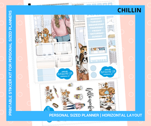 Printables for Personal Planner | Horizontal Sticker Kit | CHILLIN