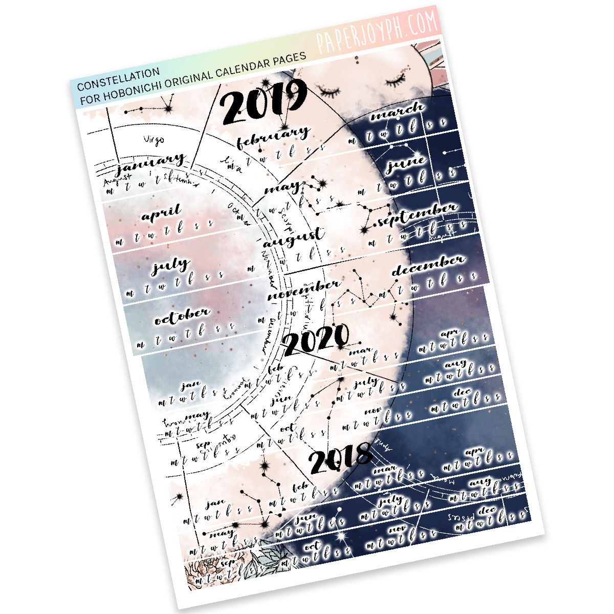 HOBONICHI ORIGINAL (A6) | CALENDAR PAGES JAPANESE VERSION | Constellation 2019