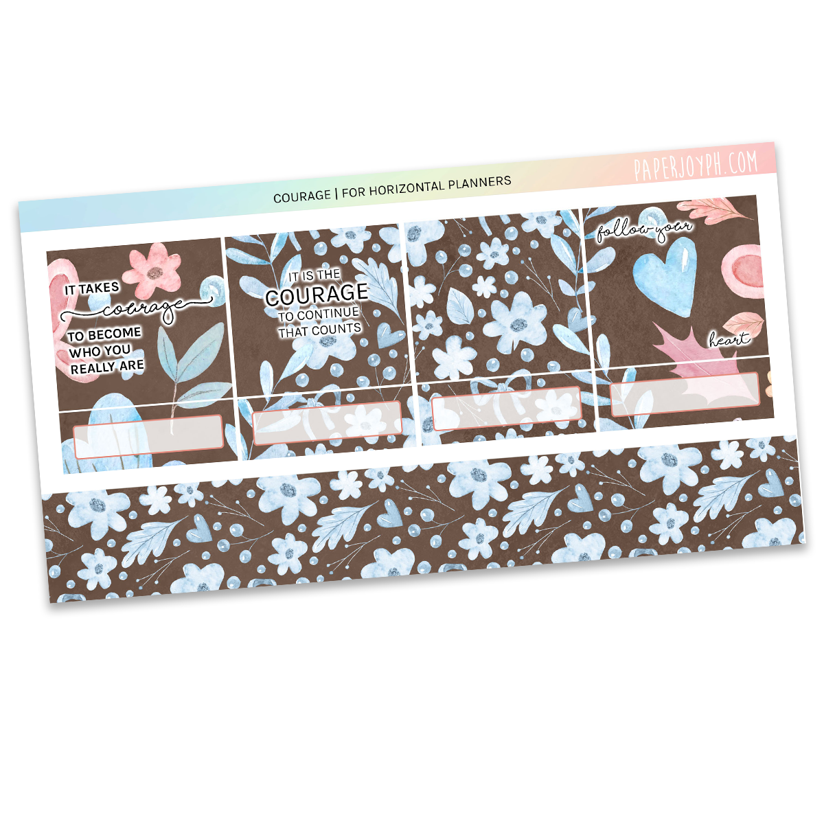 HORIZONTAL PLANNER STICKER KIT | Courage