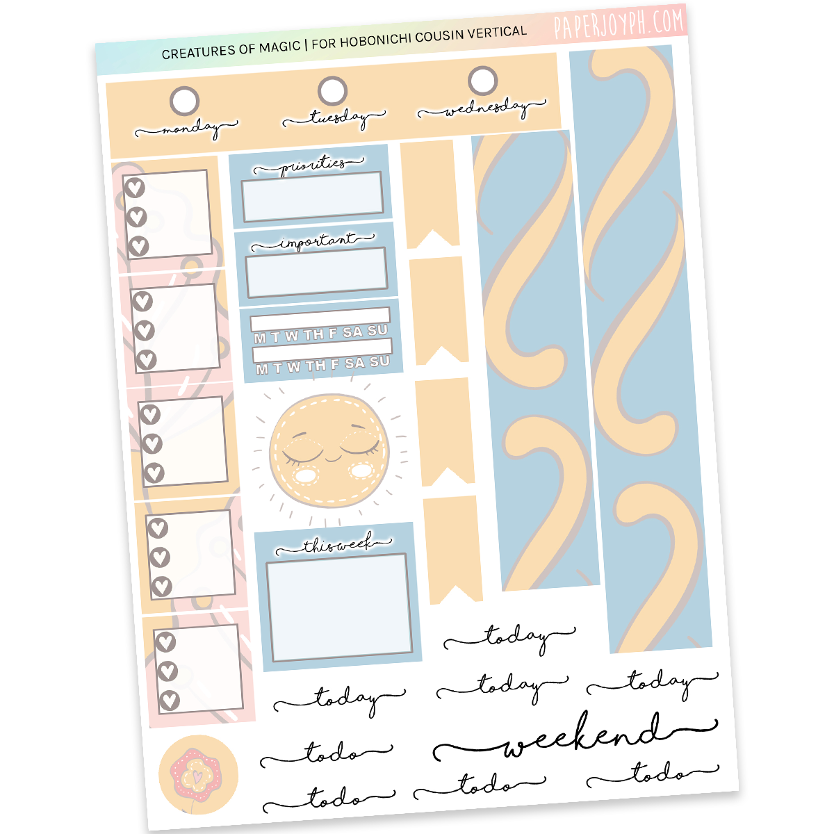 HOBONICHI COUSIN | VERTICAL STICKER KIT | Creatures of Magic