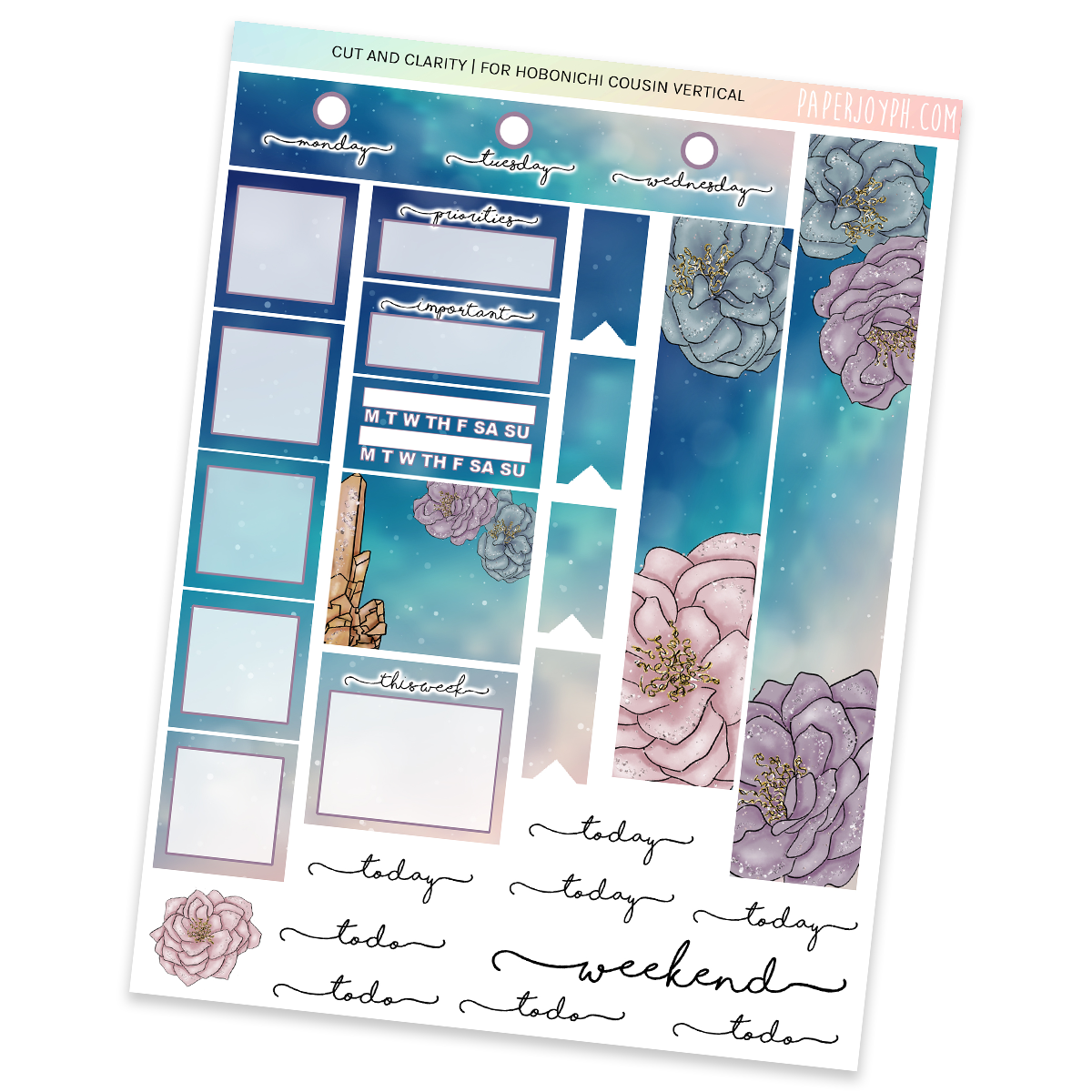 HOBONICHI COUSIN | VERTICAL STICKER KIT | CUT AND CLARITY