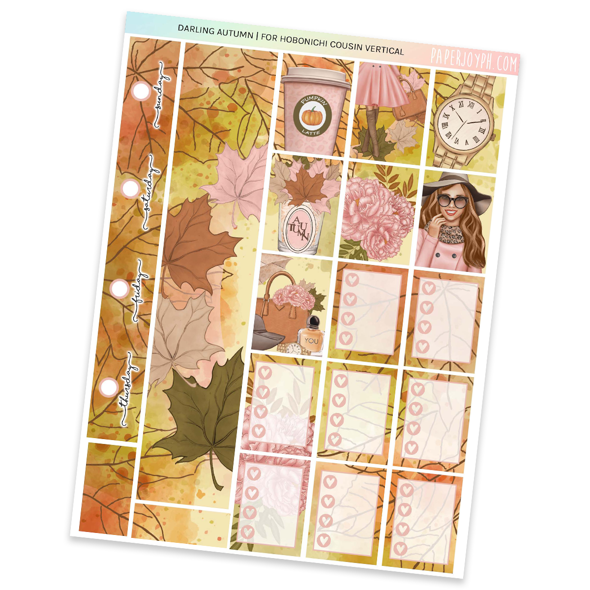 HOBONICHI COUSIN | VERTICAL STICKER KIT | DARLING AUTUMN