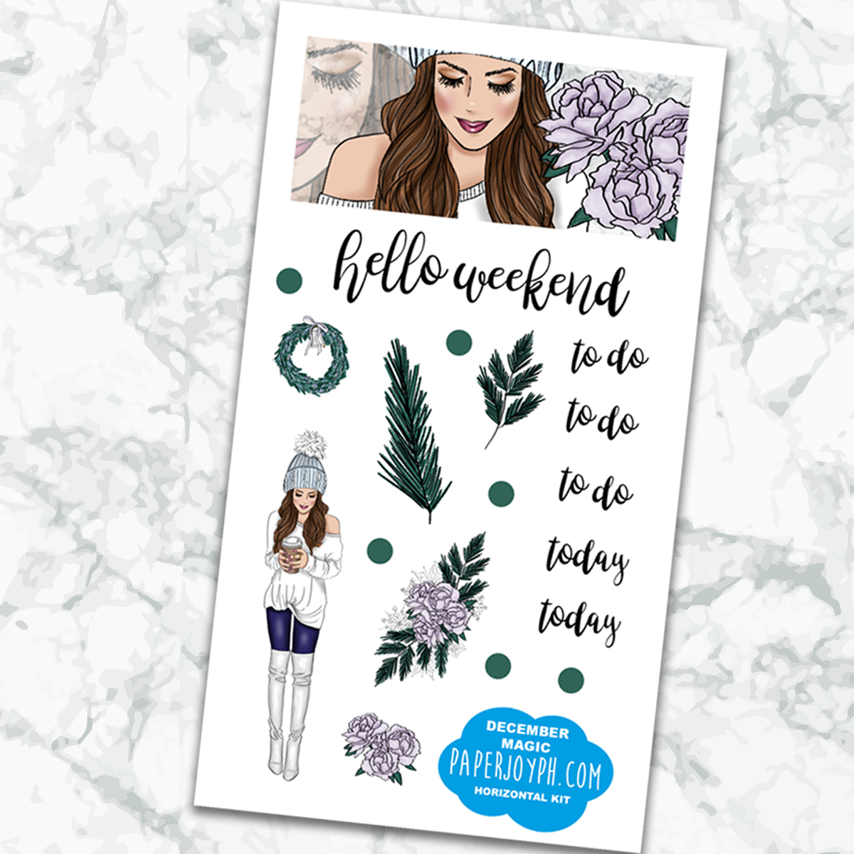 Printable Personal Planner | Horizontal Sticker Kit | DECEMBER MAGIC