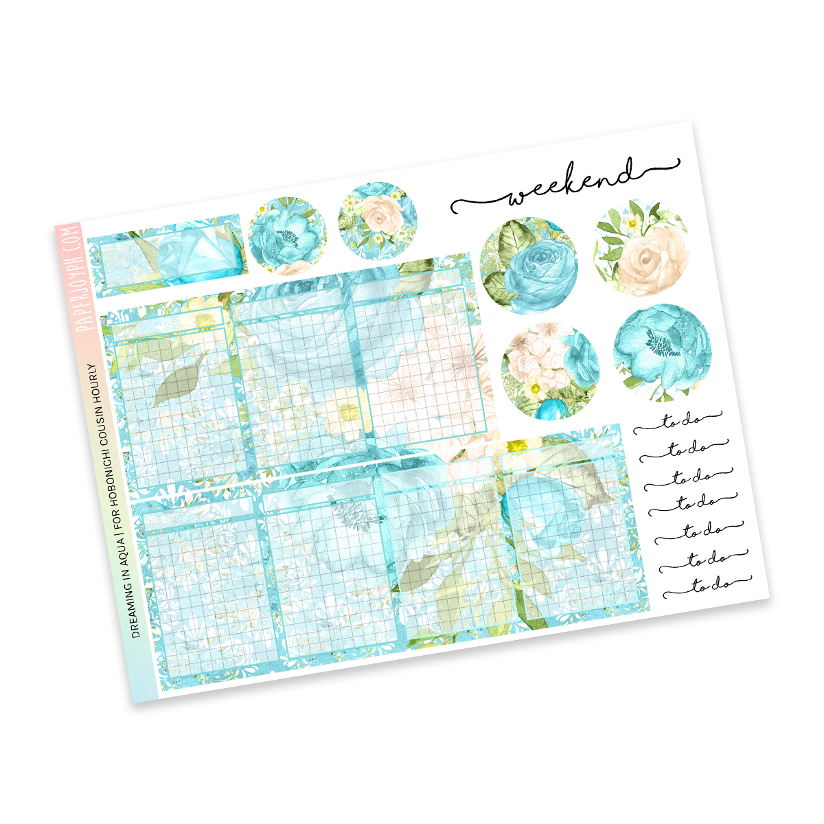 HOBONICHI COUSIN | HOURLY STICKER KIT | Dreaming in Aqua