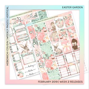 HOBONICHI COUSIN | VERTICAL STICKER KIT | Easter Garden