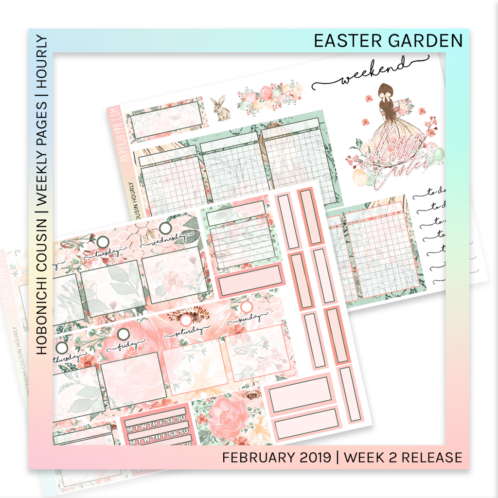 HOBONICHI COUSIN | HOURLY STICKER KIT | Easter Garden
