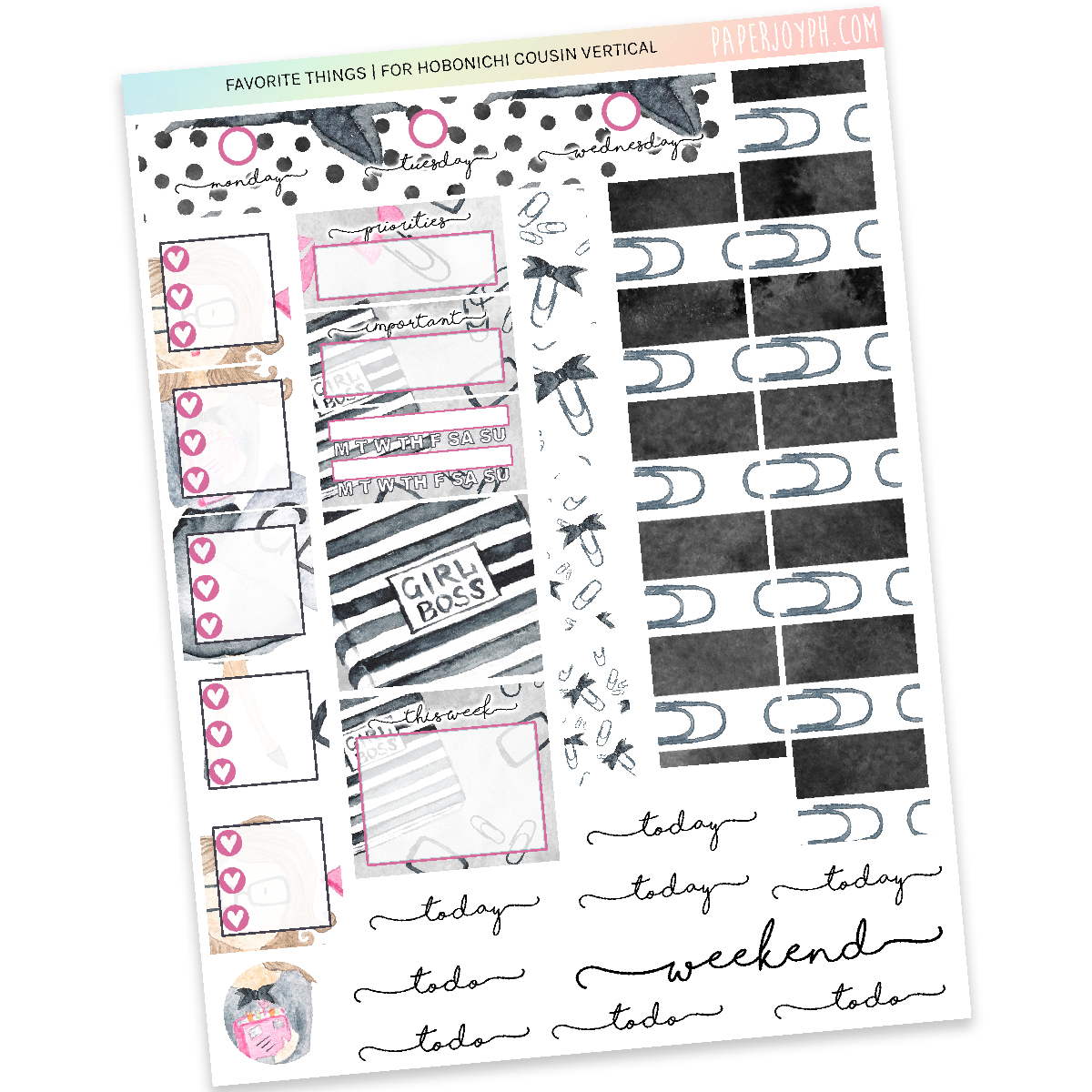 HOBONICHI COUSIN | VERTICAL STICKER KIT | Favorite Things