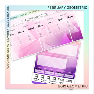 HOBONICHI WEEKS | 2019 MONTHLY PAGES | February Geometric 2019