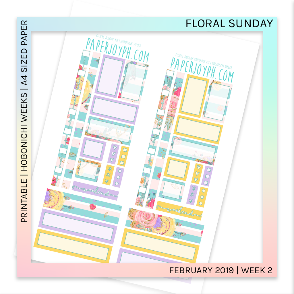 PRINTABLE | HOBONICHI WEEKS | Floral Sunday A4 size paper