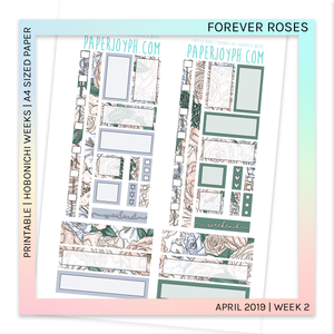 PRINTABLE | HOBONICHI WEEKS | Forever Roses A4 size paper
